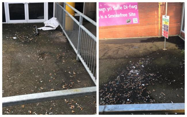 Images of cigarette butts outside Wrexham Maelor Hospital.