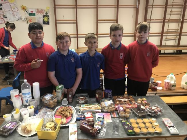 Ysgol Penrhyn pupils Akin Ulas, Cai Brooke, Elliot Woolrich, Morgan Williams and Harry Parry, too part in a business week at the school.