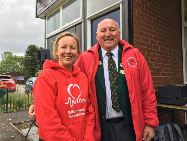 Cheryl Lockyer (left) of the British Heart Foundation with the President of Welsh Bowls, Dave Mathias.