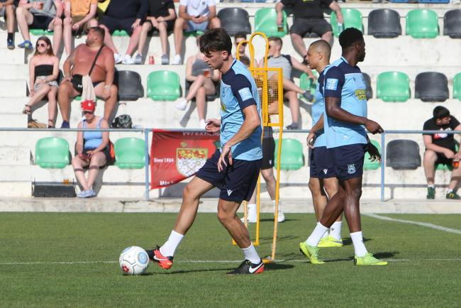 Jake Lawlor pictured during Wrexham's open training session in Portugal