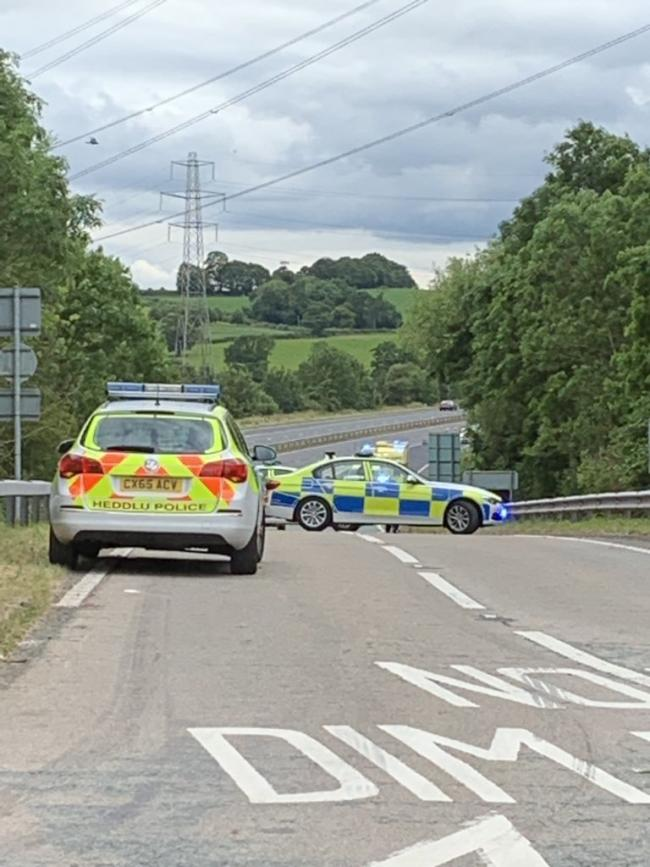 Emergency services were called to the scene of a motorbike crash on the A483 [Image by Georgina Hawkey]