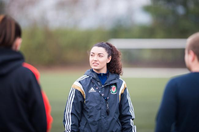 Sara Hilton, programme leader for Glynd?r's BSc (Hons) Football Coaching and the Performance Specialist degree.