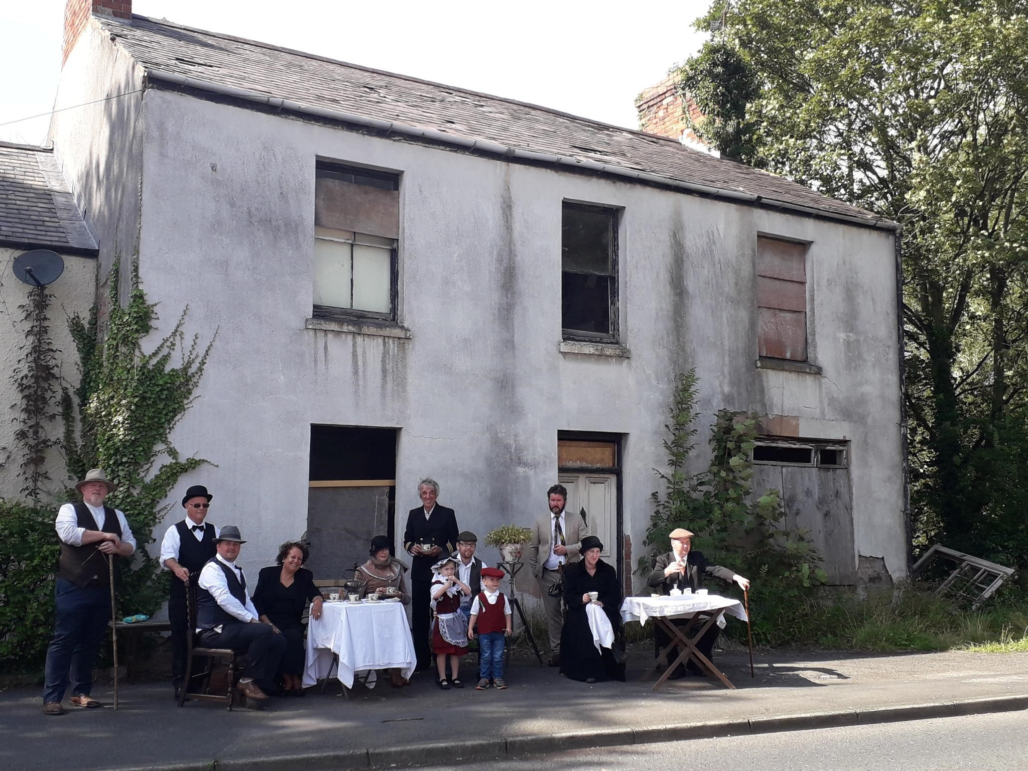 Village residents stage fancy dress protest to save Caergwrle building