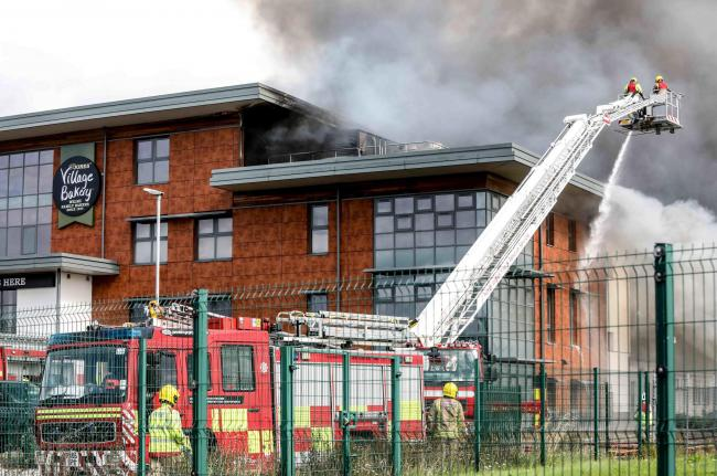 Fire at Village Bakery unit on Wrexham Industrial Estate (Picture by Rick Matthews)