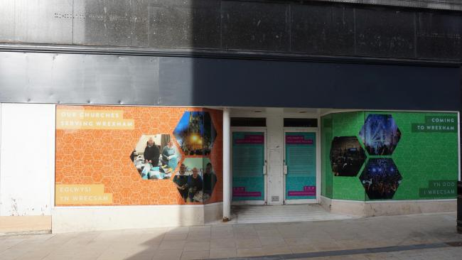 New window displays have been unveiled as work starts to convert a former shop in Wrexham town centre into a new kind of Christian community.