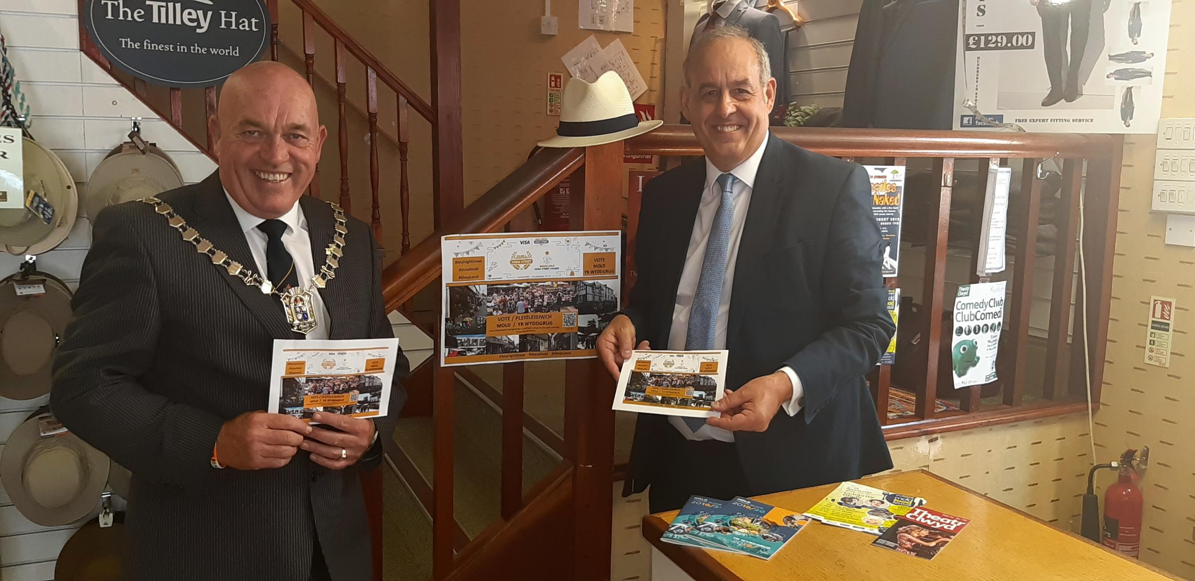 Mayor and Delyn MP visit businesses after Mold shortlisted for high street award