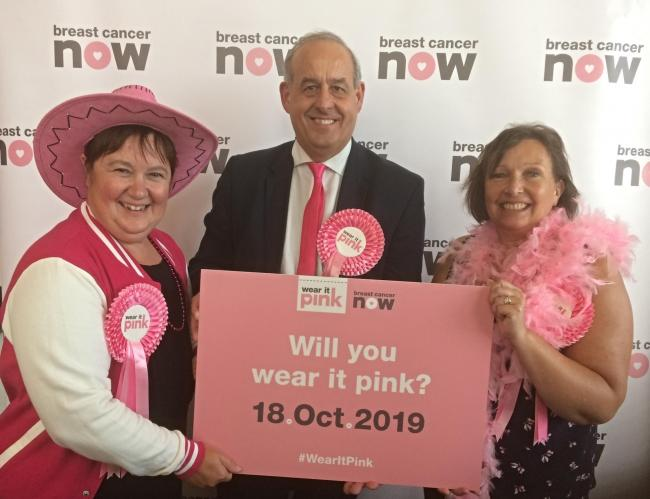 Delyn MP David Hanson with representatives of the Breast Cancer Care and Breast Cancer Now charities.