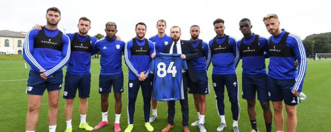 Jack Sargeant with members of Cardiff City FC. Image: Cardiff City FC Community Foundation
