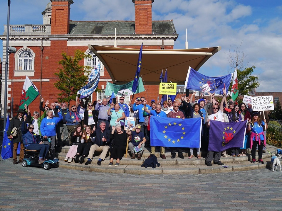 Anti-Brexit protestors gather in Mold for demonstration