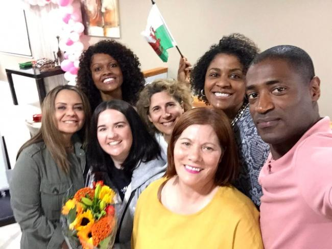 Maria Medina (second from right on the back row) moved to Wrexham from the Cape Verde Islands in 2015 and has just completed a 10 week Welsh language course held at a Portuguese town centre cafe.