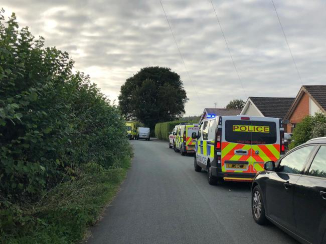 Police seen on Telford Avenue, Chirk Bank. Picture: Jack Butler