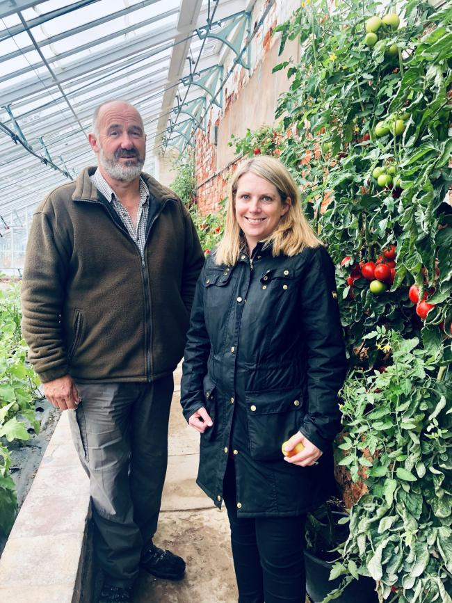 Hannah pictured with Philip at Mostyn Kitchen Garden