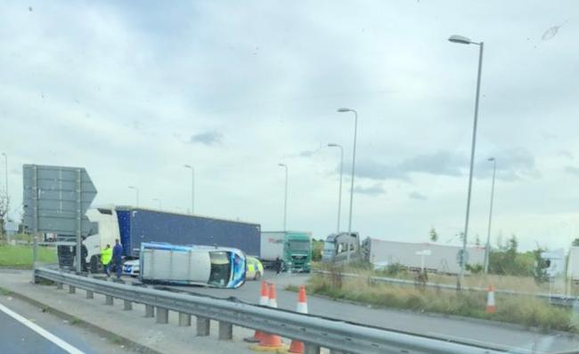 A van has been overturned in the collision on the A534 (Credit- @muckaway1)