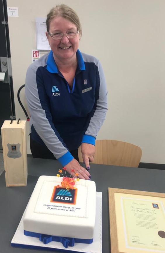 Aldi Wrexham employee recognised for 25 years' service
