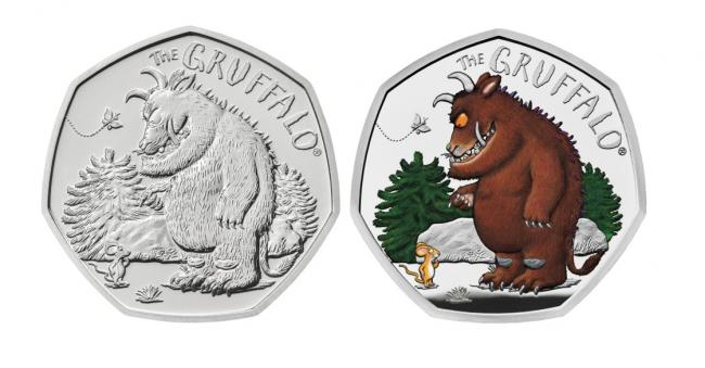 New commemorative 50p coin of the Gruffalo, depicting the beast's first meeting with Mouse in the woods.
