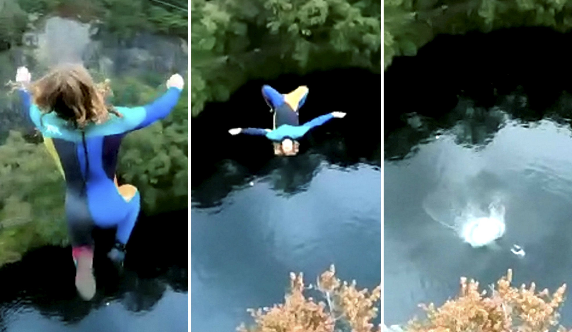 Watch breathtaking moment daredevil somersaults 73ft into lake at bottom of North Wales quarry