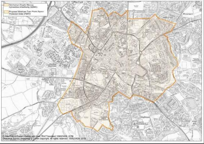 A map showing the areas of Wrexham covered by the new proposed Public Space Protection Order. Source: Wrexham Council