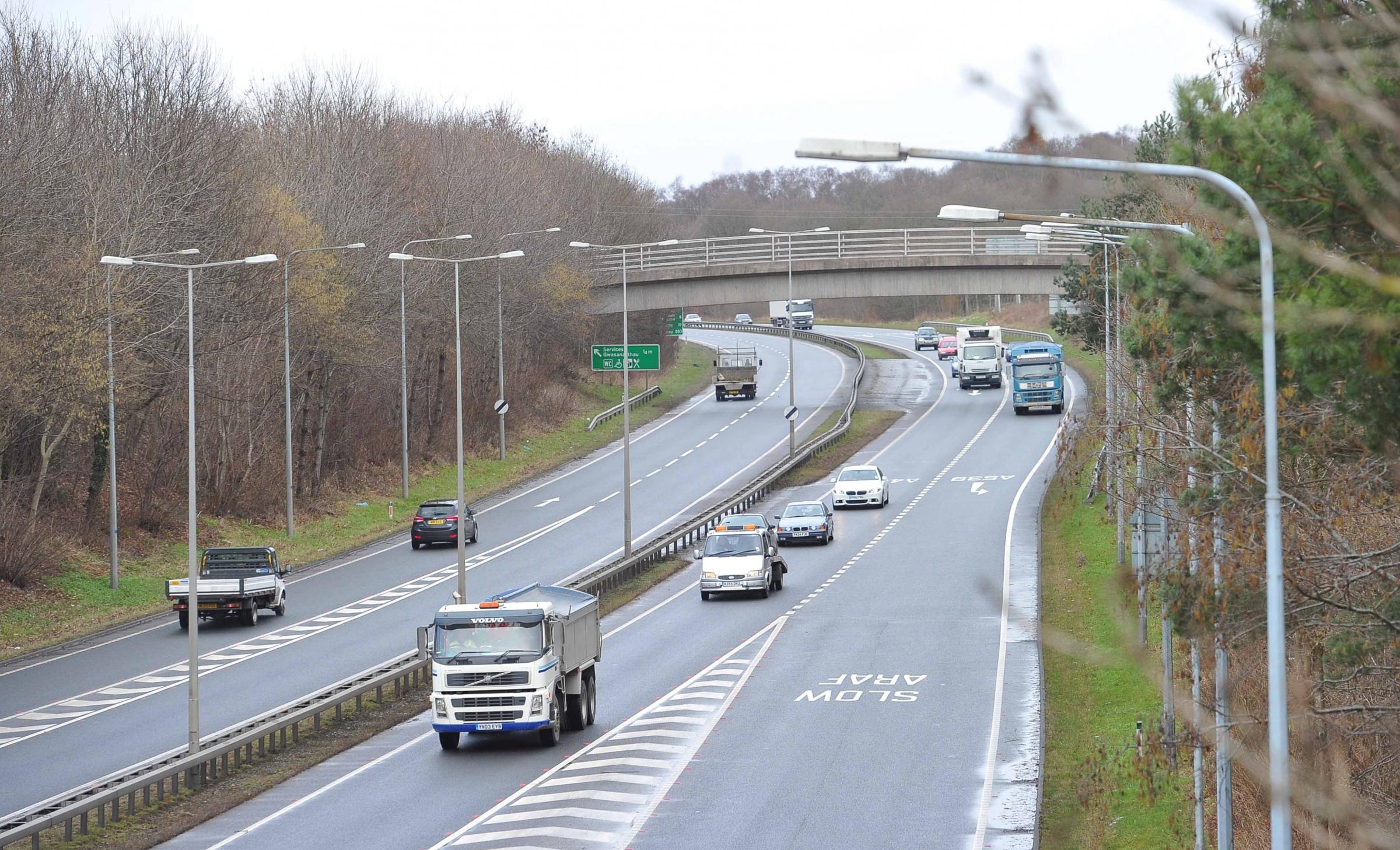 Police appeal after lorry hit by rocks from a bridge in Ruabon