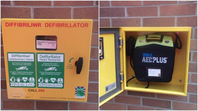 The defibrillator has been installed at Ysgol Rhiwabon.