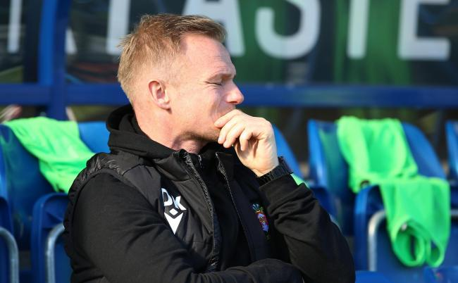 Wrexham Manager Dean Keates during the FA Cup 4th Qualifying Round at the Proact Stadium on Saturday 19th October 2019..