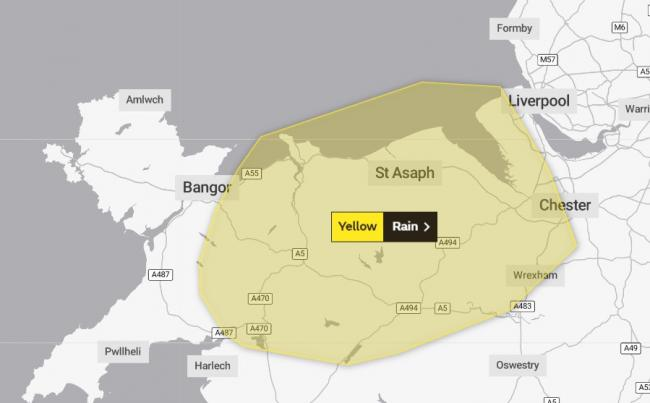 Areas of north Wales have been issued with a yellow warning for rain. Image: Met Office