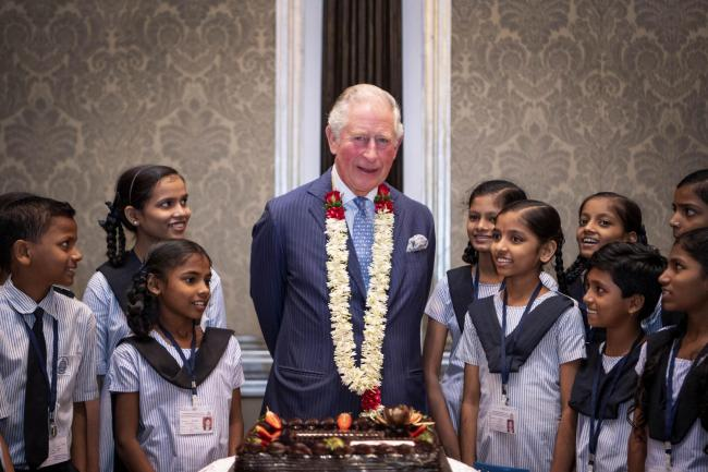 The Prince of Wales with schoolchildren in Mumbai
