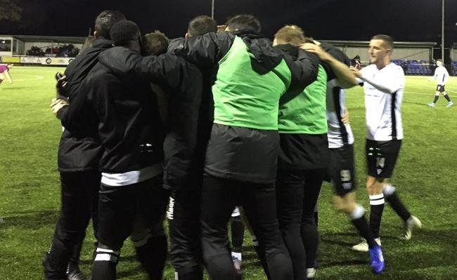 LATE DRAMA: Bala celebrate Chris Venables' winner. Picture: @BALATOWNFC