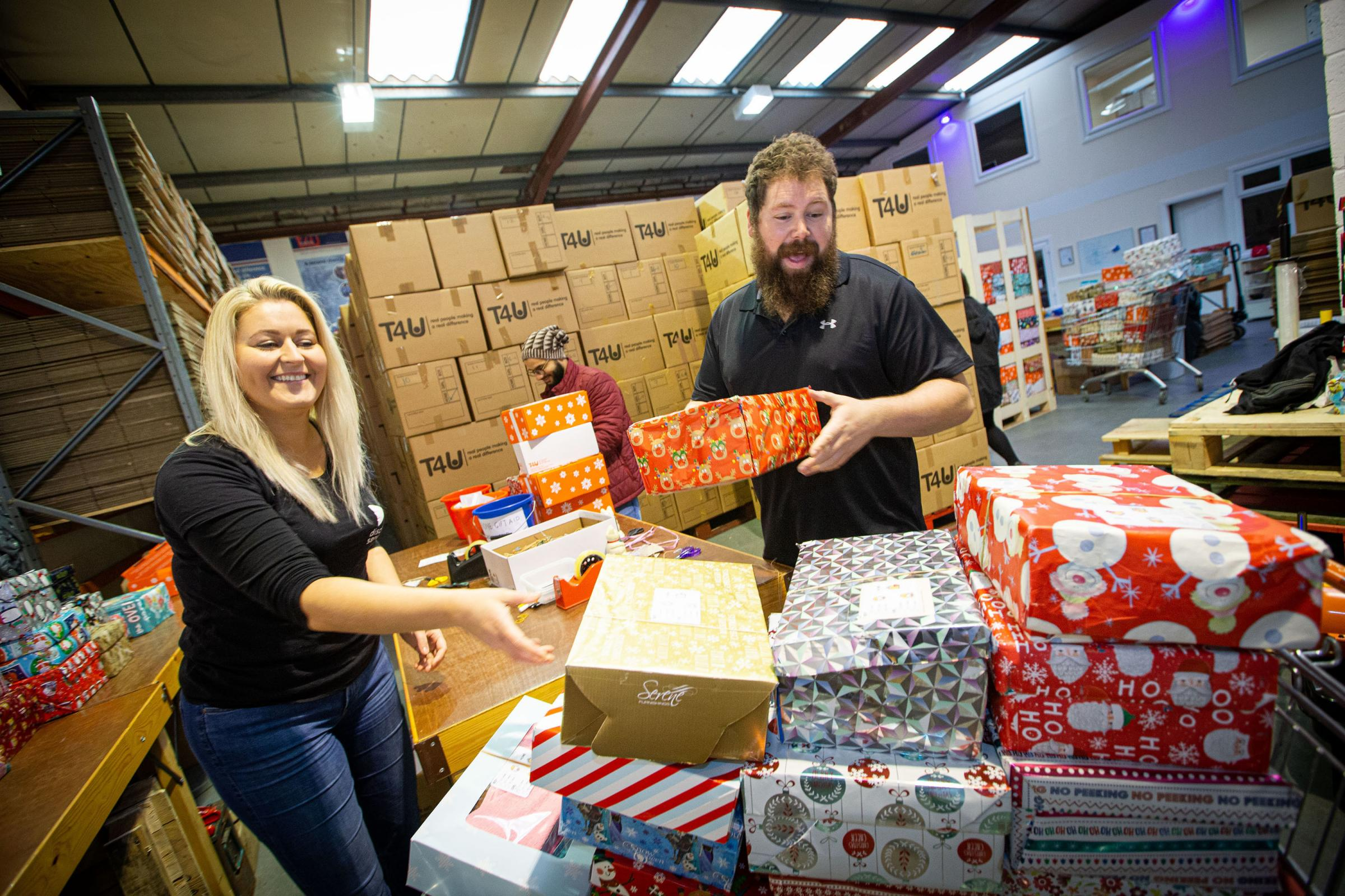 A staggering 60,000 shoeboxes packed and ready to bring Christmas magic to poverty-stricken children