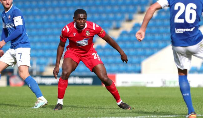 Wrexham's Akil Wright during the FA Cup 4th Qualifying Round at the Proact Stadium on Saturday 19th October 2019..