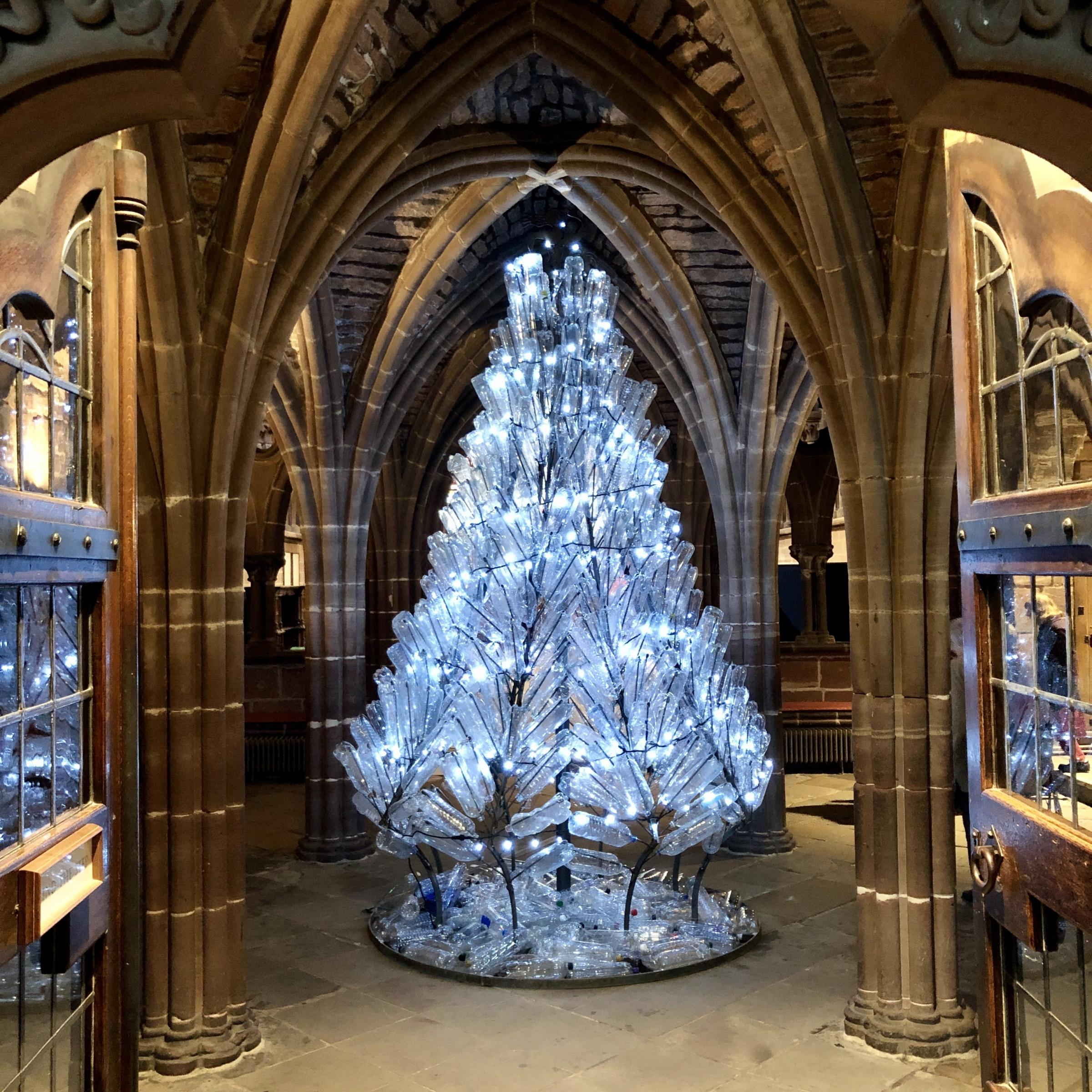 The strong message behind plastic bottle Christmas tree at Chester Cathedral