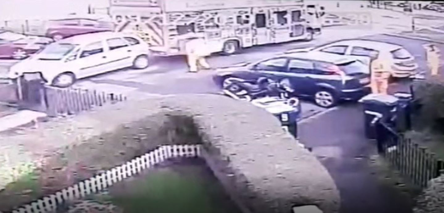 Shocking video shows Wrexham Council bin lorry hit family's parked car
