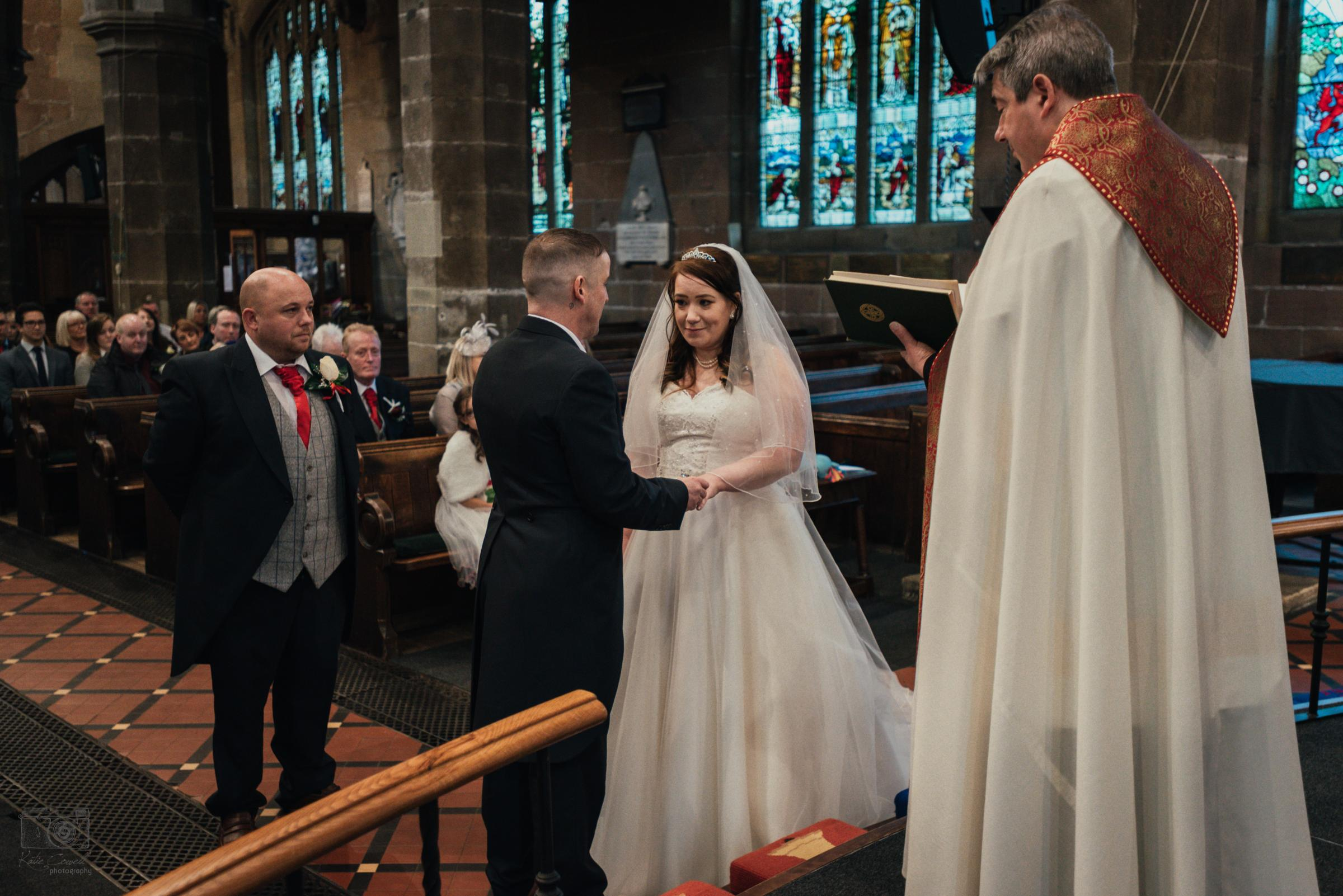 Tying the knot: Couple enjoy big day at St Giles Church in Wrexham