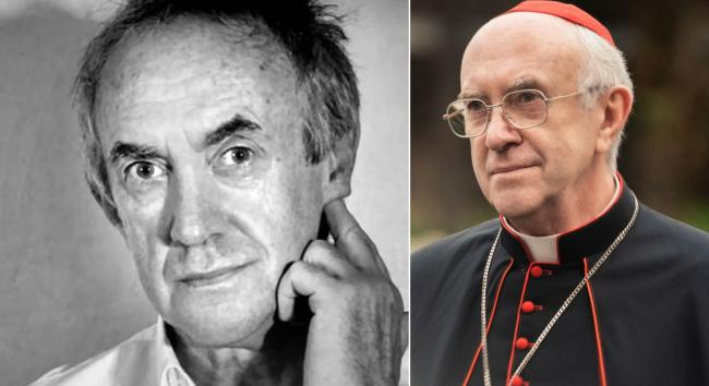 Actor Jonathan Pryce as Cardinal Jorge Bergoglio in The Two Popes, right
