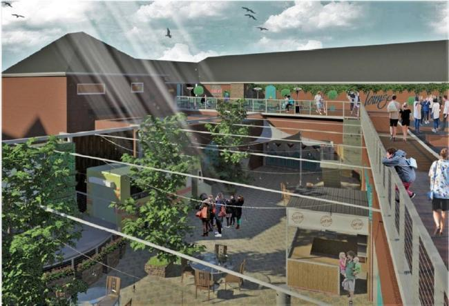 An application has been put forward to redevelop a group of shops in Wrexham town centre as part of a new scheme known as Chapter Court. Source: TBE (Southern) Limited