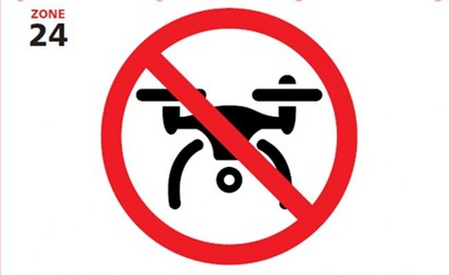 The 'No Drone Zone' sign that is expected to go up in various Flintshire towns.