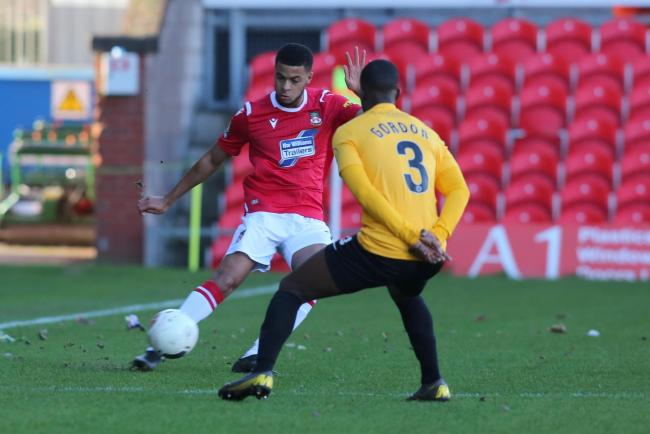 DEBUT: Jordon Thompson in action on his Wrexham debut against Dagenham.    Picture by Alun Roberts