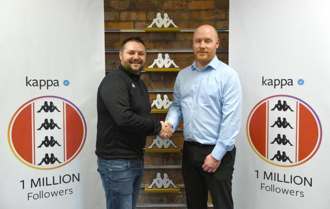 Joe Pilato of Kappa UK Sports Marketing (left) and Kieron Shiel, Chester FC Director (right). Picture: TOM GREEN