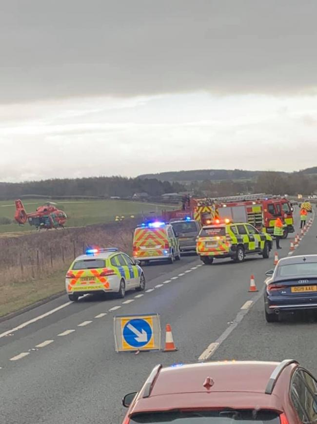 The incident on the A55 near Caerwys today.