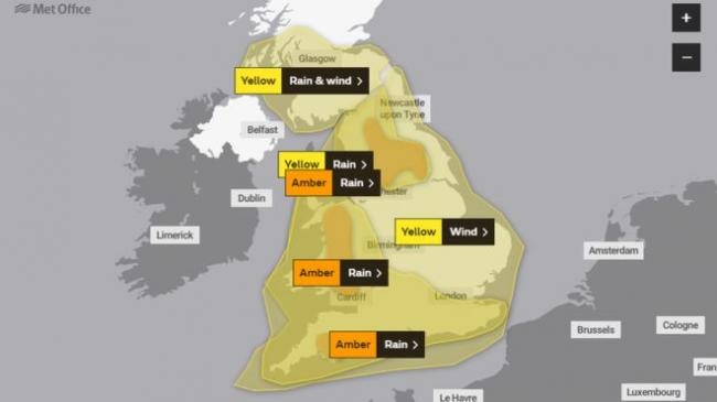 An amber warning for rain is in place across Wales over the weekend. (Source - Met Office)
