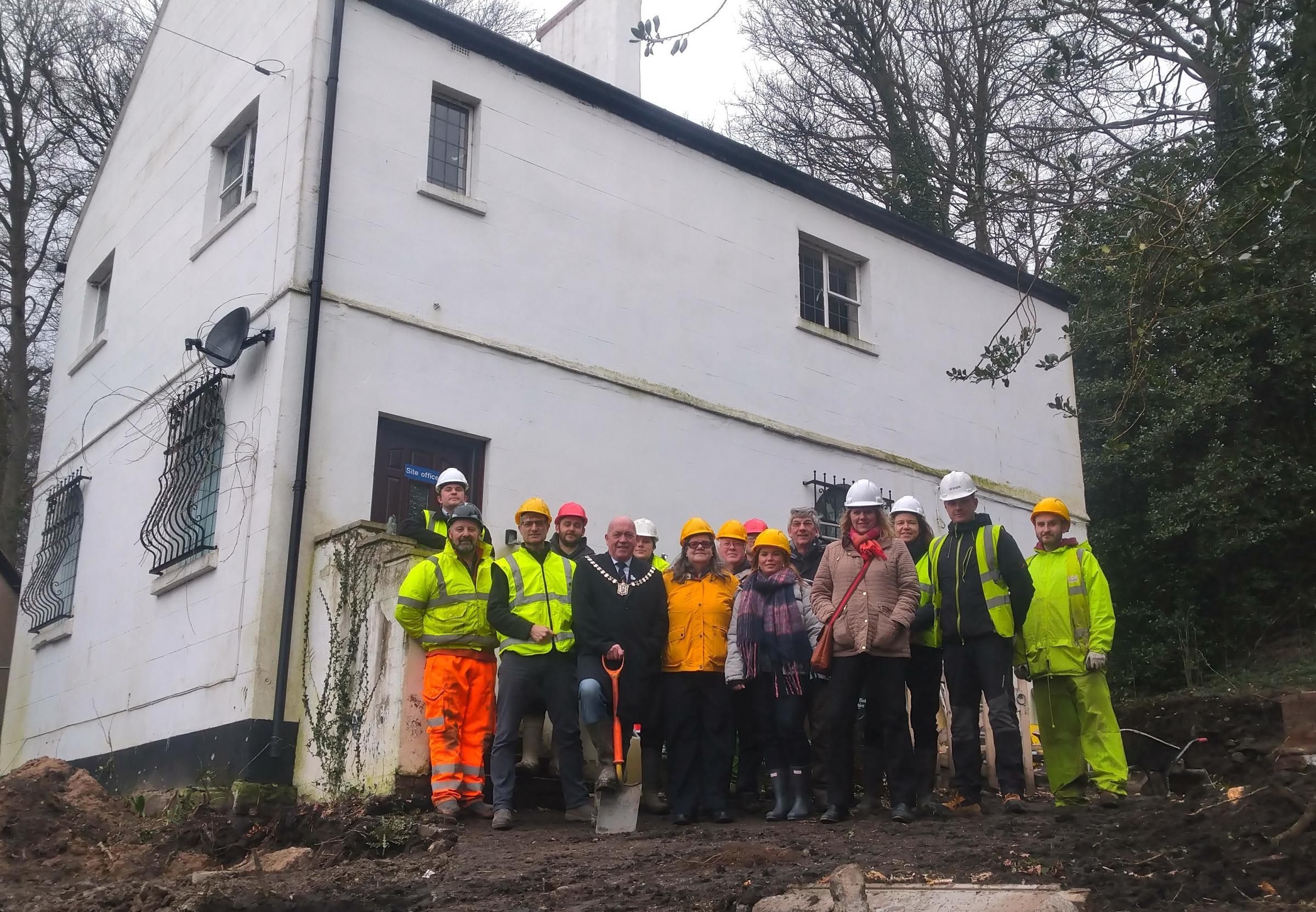 Mold mayor breaks ground at Bailey Hill as restoration scheme begins