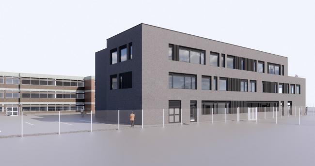 Plans have been unveiled to create extra space at Castell Alun High School in Hope. Source: Lovelock Mitchell Architects