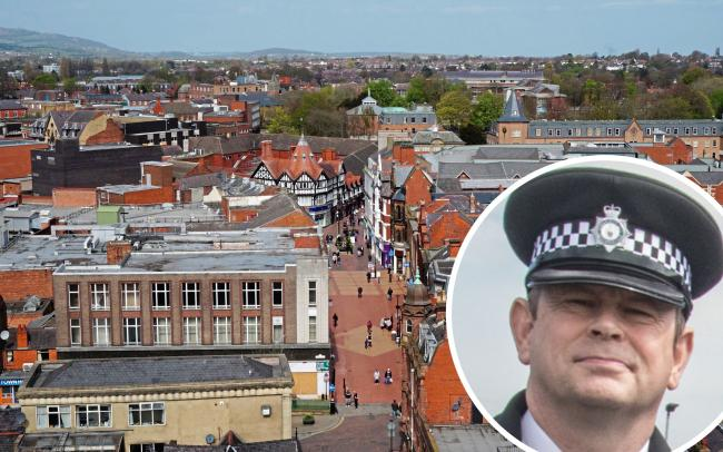Wrexham town centre and, inset, Insp Victor Powell