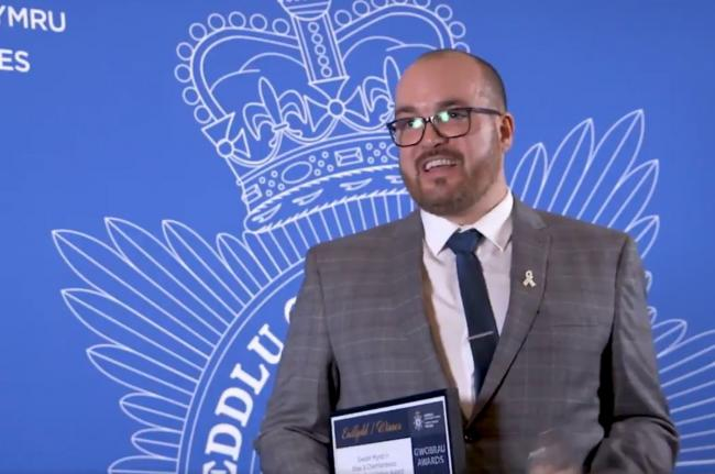 PC Mike Taggart was given the 'Tackling Exploitation' Award at the Force Awards. Picture: Twitter/ North Wales Police