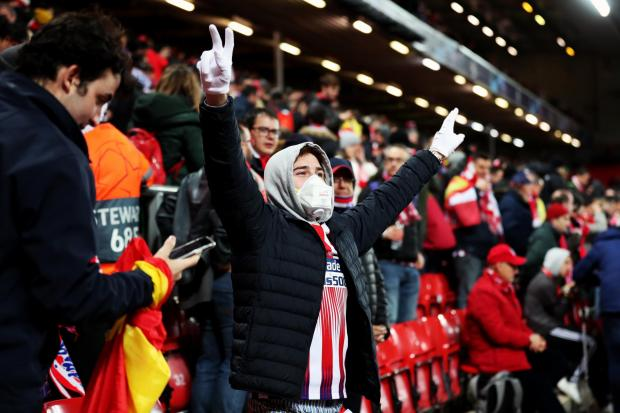 There were 3,000 fans in the away end when Atletico Madrid played Liverpool at Anfield last month (Peter Byrne/PA)