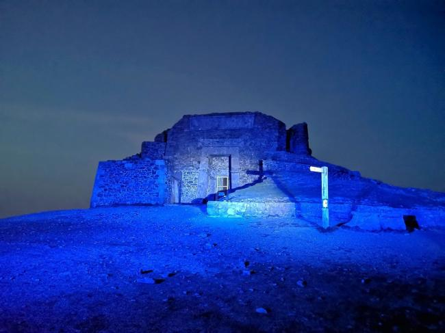 Jubilee Tower on Moel Famau was lit up in blue on Thursday night.