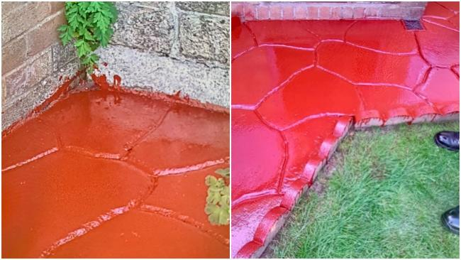 "The people responsible for painting this driveway were reported by police for ""poor quality"" work. (Source - NWP Wrexham Rural Team)"