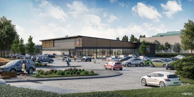 Concept art of what the new Aldi store in Mold could look like [Image by Aldi]