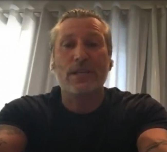 Screen grab of football pundit Robbie Savage, who asked a question, during a media briefing in Downing Street, London, on coronavirus (COVID-19). Image: PA Video/PA Wire