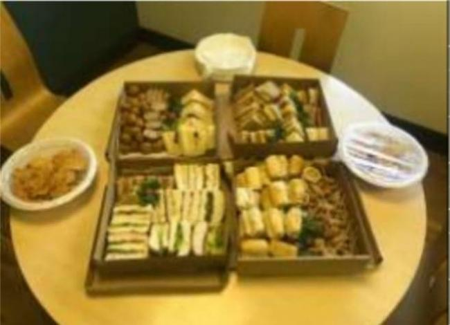 The surprise buffet lunch for staff at the Ruabon Medical Centre. (Source Joanne Barlow)