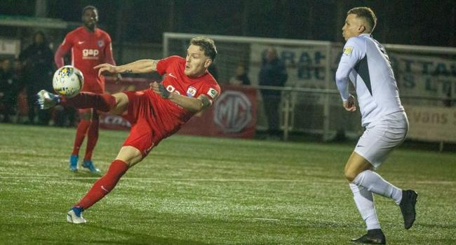 STUNNER: Jamie Insall scores a wonderful volley in the League Cup final. Picture: NCM MEDIA